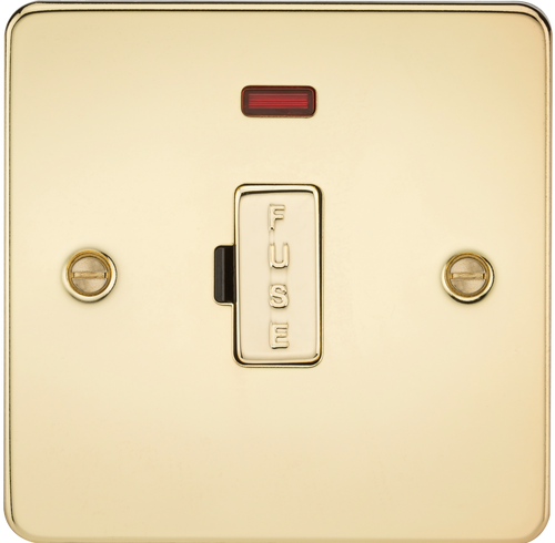 Flat Plate 13A Fused Spur Unit with Neon - Polished Brass (DFL1FP6000NPB)