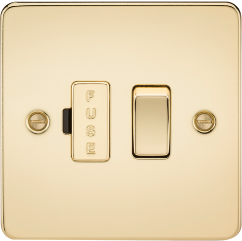 Flat Plate 13A Switched Fused Spur Unit - Polished Brass (DFL1FP6300PB)