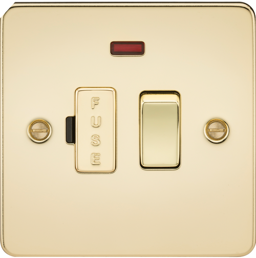 Flat Plate 13A Switched Fused Spur Unit with Neon - Polished Brass (DFL1FP6300NPB)