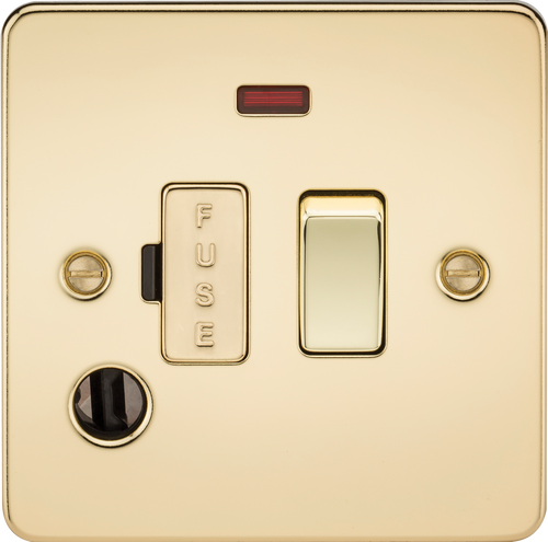 Flat Plate 13A Switched Fused Spur Unit with Neon and Flex Outlet - Polished Brass (DFL1FP6300FPB)