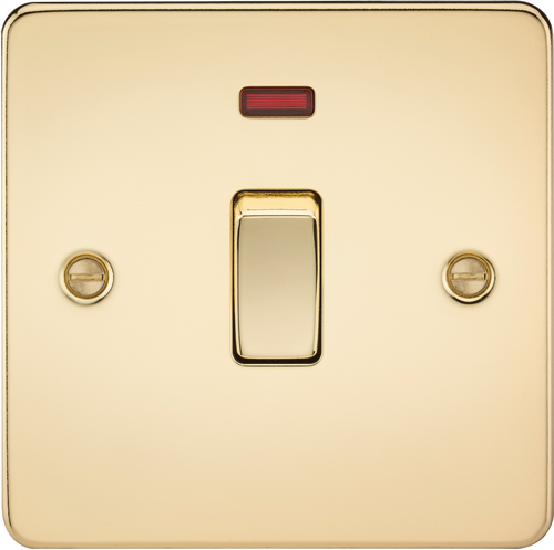 Flat Plate 20A 1G DP Switch with Neon - Polished Brass (DFL1FP8341NPB)