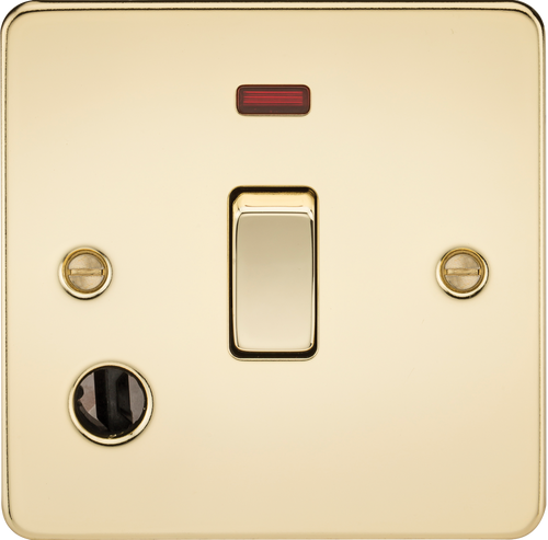 Flat Plate 20A 1G DP Switch with Neon & Flex Outlet - Polished Brass (DFL1FP8341FPB)
