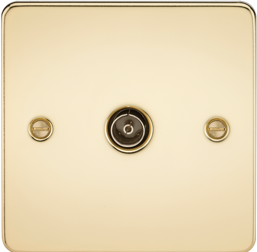 Flat Plate 1G TV Outlet (Non-Isolated) - Polished Brass (DFL1FP0100PB)