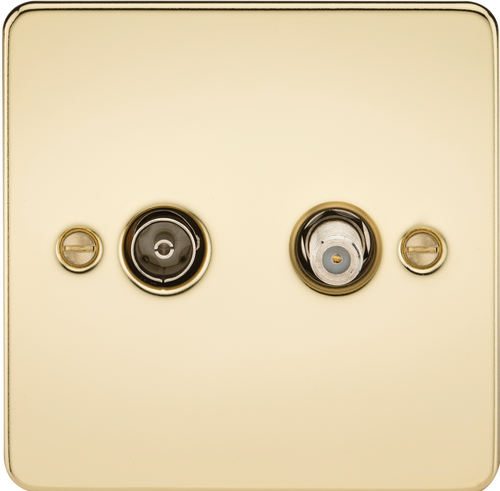 Flat Plate TV & SAT TV Outlet (Isolated) - Polished Brass (DFL1FP0140PB)