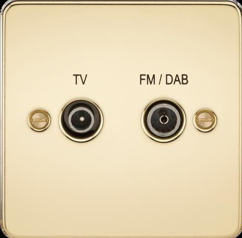 Flat Plate Screened Diplex Outlet (TV & FM DAB) - Polished Brass (DFL1FP0160PB)