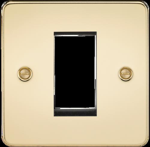Flat Plate 1G Modular Faceplate - Polished Brass (DFL1FP1GPB)