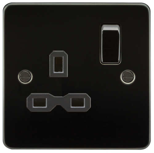 Flat Plate 13A 1G DP Switched Socket - Gunmetal with Black Insert (DFL1FPR7000GM)