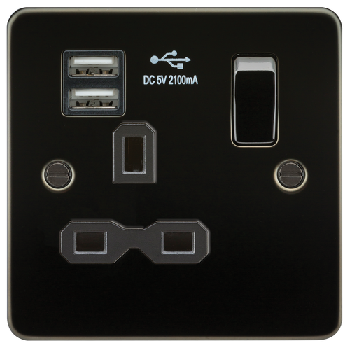 Flat plate 13A 1G switched socket with dual USB charger - Gunmetal with Black Insert (DFL1FPR9901GM)