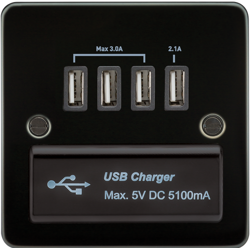 Flat Plate 1G Quad USB Charger Outlet 5V DC 5.1A - Gunmetal with Black Insert (DFL1FPQUADGM)