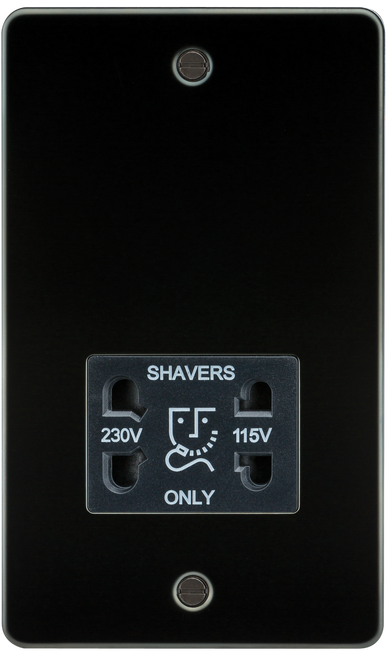 Flat Plate 115V/230V Dual Voltage Shaver Socket - Gunmetal with Black Insert (DFL1FP8900GM)
