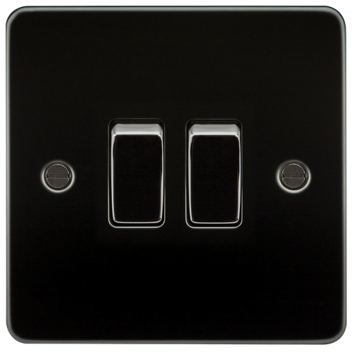Flat Plate 10A 2G 2-Way Switch - Gunmetal (DFL1FP3000GM)