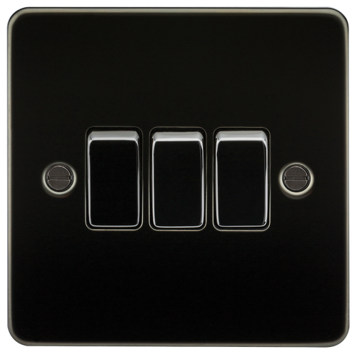 Flat Plate 10A 3G 2-Way Switch - Gunmetal (DFL1FP4000GM)