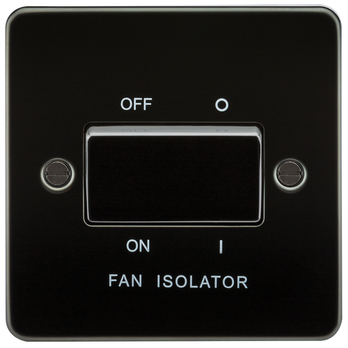 Flat Plate 10A 3 Pole Fan Isolator Switch - Gunmetal (DFL1FP1100GM)
