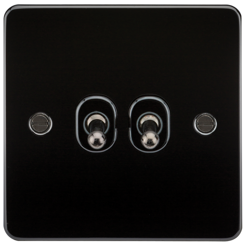 Flat Plate 10A 2G 2-Way Toggle Switch - Gunmetal (DFL1FP2TOGGM)