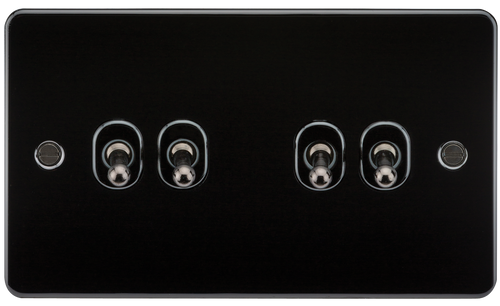 Flat Plate 10A 4G 2-Way Toggle Switch - Gunmetal (DFL1FP4TOGGM)