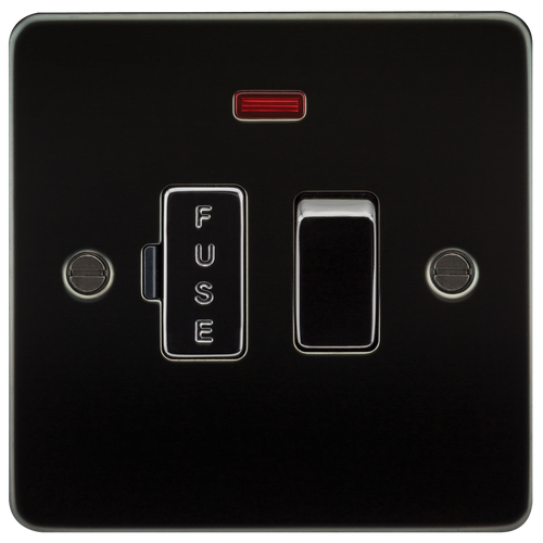Flat Plate 13A Switched Fused Spur Unit with Neon - Gunmetal (DFL1FP6300NGM)