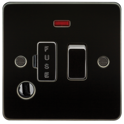 Flat Plate 13A Switched Fused Spur Unit with Neon and Flex Outlet - Gunmetal (DFL1FP6300FGM)