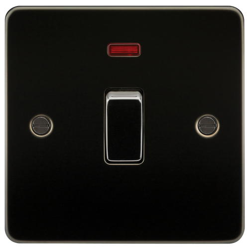 Flat Plate 20A 1G DP Switch with Neon - Gunmetal (DFL1FP8341NGM)