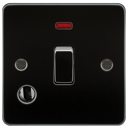 Flat Plate 20A 1G DP Switch with Neon & Flex Outlet - Gunmetal (DFL1FP8341FGM)