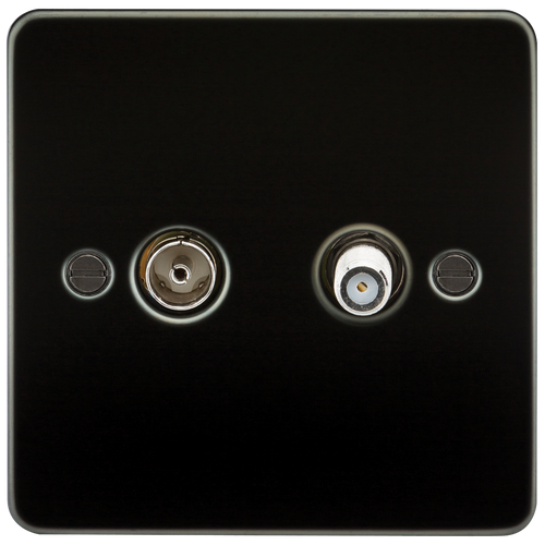 Flat Plate TV & SAT TV Outlet (Isolated) - Gunmetal (DFL1FP0140GM)
