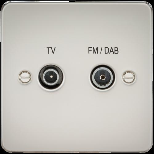 Flat Plate Screened Diplex Outlet (TV & FM DAB) - Pearl (DFL1FP0160PL)