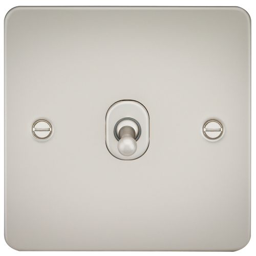 Flat Plate 10A 1G 2 Way Toggle Switch - Pearl (DFL1FP1TOGPL)