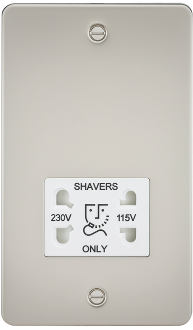 FLAT PLATE 115V/230V DUAL VOLTAGE SHAVER SOCKET - PEARL WITH WHITE INSERT (DFL1FP8900PLW)