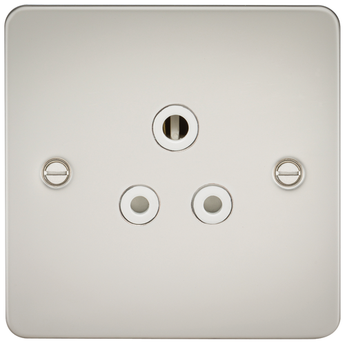 FLAT PLATE 5A UNSWITCHED SOCKET - PEARL WITH WHITE INSERT (DFL1FP5APLW)