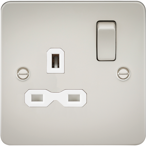 Flat plate 13A 1G DP switched socket - pearl with white insert (DFL1FPR7000PLW)
