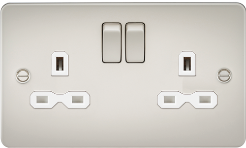 Flat plate 13A 2G DP switched socket - pearl with white insert (DFL1FPR9000PLW)