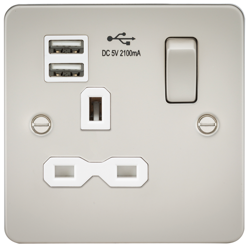 Flat plate 13A 1G switched socket with dual USB charger - pearl with white insert (DFL1FPR9901PLW)