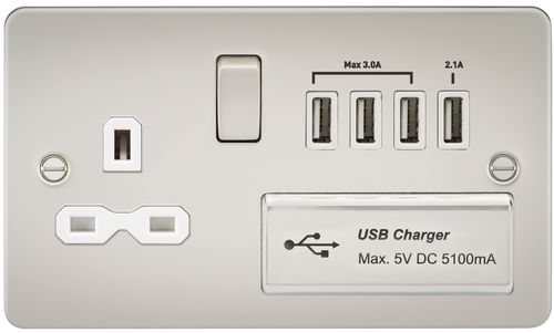 Flat plate 13A switched socket with quad USB charger - pearl with white insert (DFL1FPR7USB4PLW)