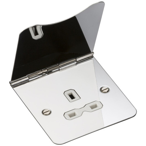 Flat Plate 13A 1G Unswitched Floor Socket - Polished Chrome with White Insert (DFL1FPR7UPCW)