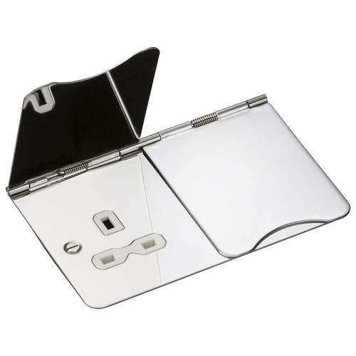 Flat Plate 13A 2G Unswitched Floor Socket - Polished Chrome with White Insert (DFL1FPR9UPCW)