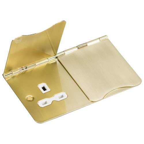 Flat Plate 13A 2G Unswitched Floor Socket - Brushed Brass with White Insert (DFL1FPR9UBBW)