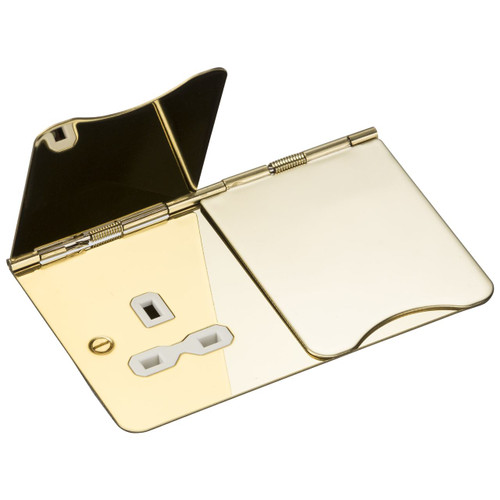 Flat Plate 13A 2G Unswitched Floor Socket - Polished Brass with White Insert (DFL1FPR9UPBW)