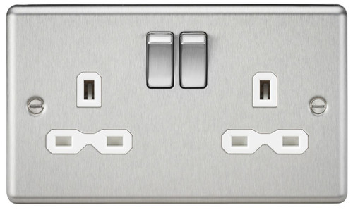 13A 2G DP Switched Socket with White Insert - Rounded Edge Brushed Chrome (DFL1CL9BCW)