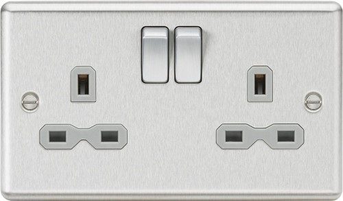13A 2G DP Switched Socket - Rounded Edge Brushed Chrome with Grey Insert (DFL1CL9BCG)