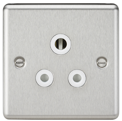 5A Unswitched Socket - Rounded Edge Brushed Chrome with White Insert (DFL1CL5ABCW)