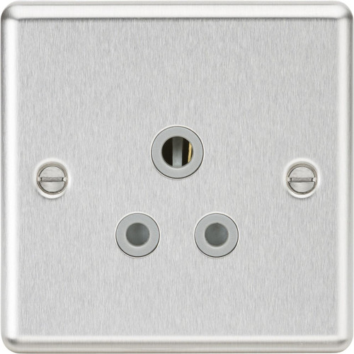 5A Unswitched Socket - Rounded Edge Brushed Chrome with Grey Insert (DFL1CL5ABCG)