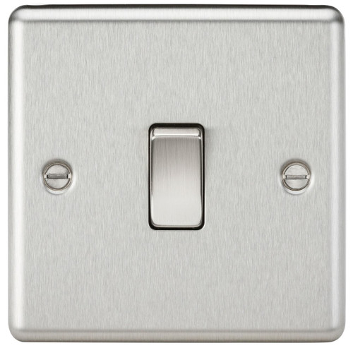 10A 1G 2 Way Plate Switch - Rounded Edge Brushed Chrome (DFL1CL2BC)