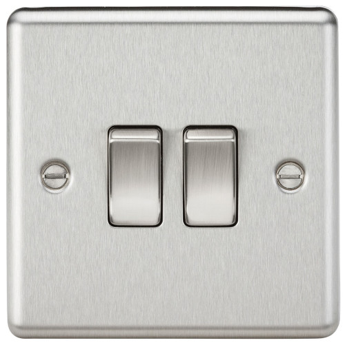 10A 2G 2 Way Plate Switch - Rounded Edge Brushed Chrome (DFL1CL3BC)