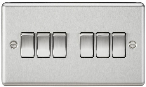 10A 6G 2 Way Plate Switch - Rounded Edge Brushed Chrome (DFL1CL42BC)