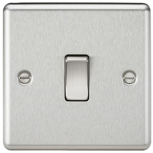 10A 1G Intermediate Switch - Rounded Edge Brushed Chrome (DFL1CL12BC)