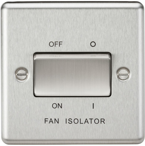 10A 3 Pole Fan Isolator Switch - Rounded Edge Brushed Chrome (DFL1CL11BC)