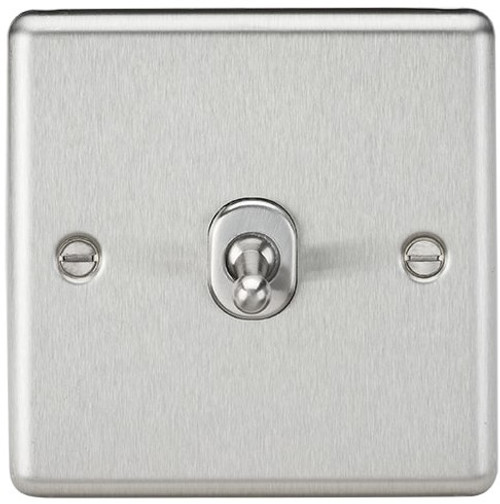 10A 1G 2 Way Toggle Switch - Rounded Brushed Chrome Finish (DFL1CLTOG1BC)