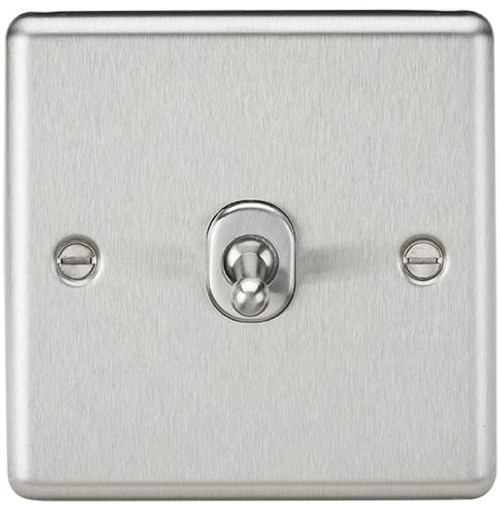 10A 1G Intermediate Toggle Switch - Rounded Brushed Chrome Finish (DFL1CLTOG12BC)