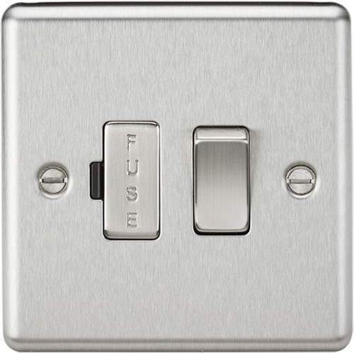 13A Switched Fused Spur Unit - Rounded Edge Brushed Chrome (DFL1CL63BC)
