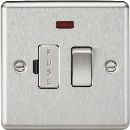 13A Switched Fused Spur Unit with Neon - Rounded Edge Brushed Chrome (DFL1CL63NBC)