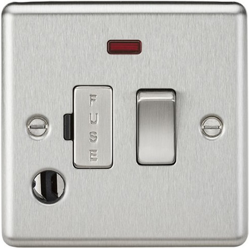 13A Switched Fused Spur Unit with Neon and Flex Outlet - Rounded Edge Brushed Chrome (DFL1CL63FBC)
